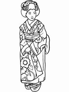 Japanese Kimono Designs Coloring Book Sketch Coloring Page