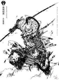 Ink sketch Lady Katana by MyCKs.deviantart.com on