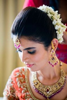Traditional South Indian Bride's Bridal Hair Bun Hairstyle Indian