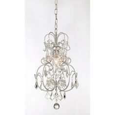 Dainty Matte Silver And Crystal 1 Light Chandelier By The Lighting