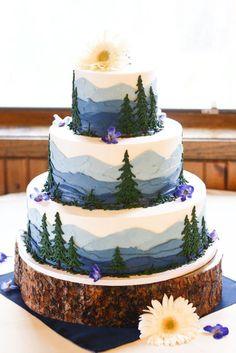 mountain wedding cak