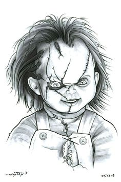 How to Draw Bride of Chucky, Step by Step, Movies, Pop