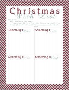 christmas gift exchange wish list template printable santa