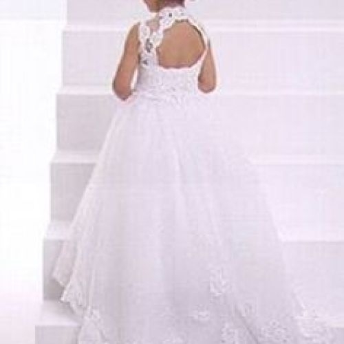 2015 Gorgeous Ivory Little Flower Gril'S Dresses With Lace Up Back