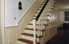 Cape Cod Colonial Staircase Raised Paneling White Wash