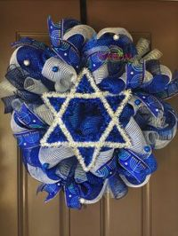 Hanukkah Wreath, Holiday Wreath, Hanakkah Decoration, Door ...