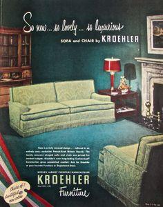 1950 Page Kroehler Furniture Jacquard Frieze Sofa & Kelvinator