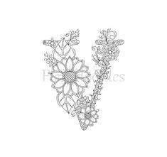 Malseite zum Ausdrucken Buchstabe A floral von