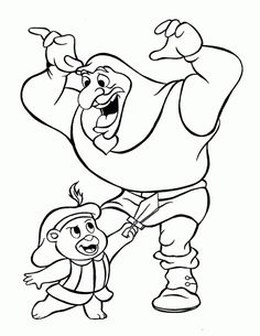 Cubbi and Igthorn Gummi bears cartoon coloring pages for