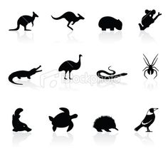 Australian animals silhouette set Royalty Free Stock