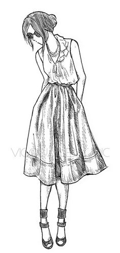 Fashion sketches, Teenage girls fashion and Hair reference