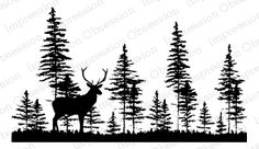 A vector silhouette illustration of a tree line of dense
