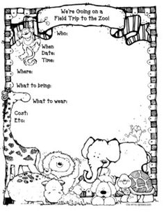 Free Zoo Fieldtip Animal Report notebooking pages