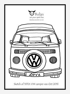 Classic VW Beetle coloring page. Remember Herbie in