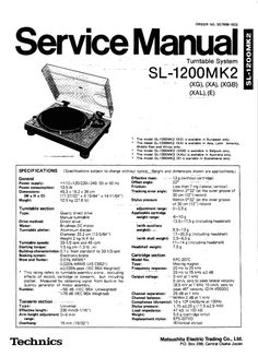 Technics SL-1700 mk2 Turntable , Service Manual