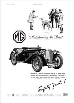 MG Midget and Magnette Car Motor or Autocar Advert 1950s