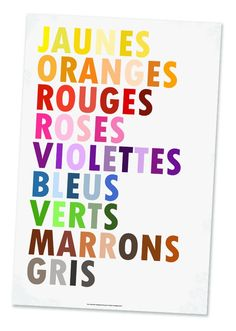 Colors In French Poster Les Couleurs Large