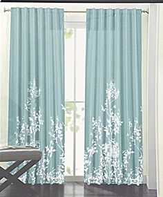 DKNY City Meadow Floral Road Pocket Curtains 100 Cotton 50 By 96