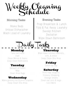 Chore charts, Daily cleaning and Cleaning on Pinterest