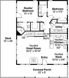 20x30 single story floor plan. One bedroom small house
