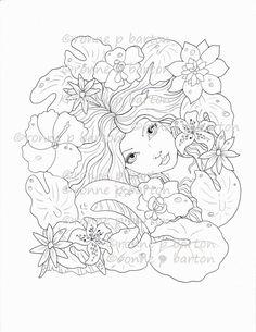 Fantasy Merman Adult Coloring Page Digi Stamp Instant