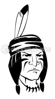 Brave indian warrior head for mascot or tattoo design