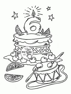 Number 6 and Birthday Balloons coloring page for kids