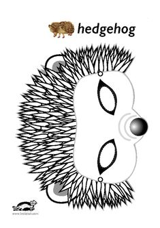 Hedgehog mask templates including a coloring page version