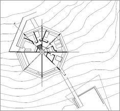 Floor plan of the Chemosphere house in Los Angeles taken