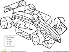 Race car coloring page for the younger siblings during