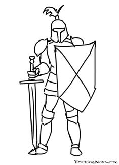 Medieval Knight Drawing Sketch Coloring Page