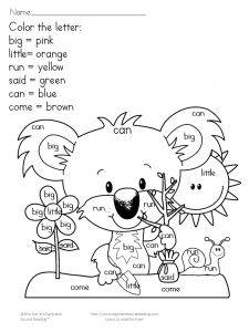 Free color by sight word featuring Olaf from frozen