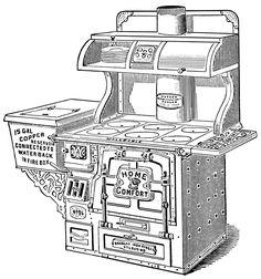antique stove clip art, black and white clipart, vintage