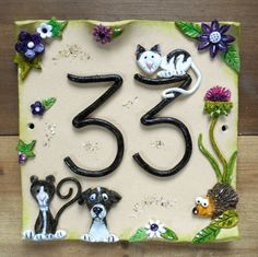 House Number Plaque Ceramic Door Number Stoneware By Sallyamoss