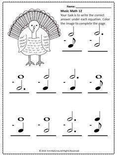 Music Theory Worksheet! 26 SUMMER Music Math coloring