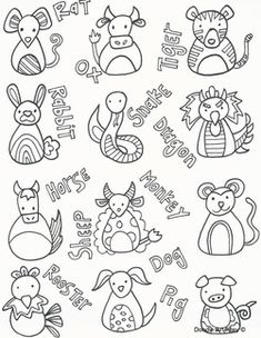 Printable Chinese Zodiac Bookmarks, Chinese New Year