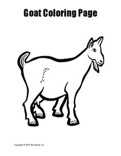 Goat color page, animal coloring pages, color plate