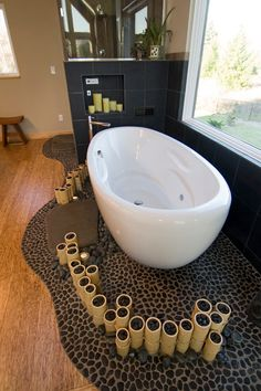 Bathroom Pebble Tile and Stone Tile Ideas on Pinterest  Pebble Tiles Contemporary Bathrooms