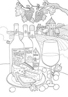 Wine bottle pattern. Use the printable outline for crafts