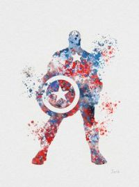 Captain America ART PRINT illustration, Superhero, Home ...