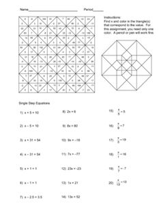 Solving Equations Color Worksheet. Problems include single