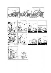 English worksheet: PEANUTS & GARFIELD BLANK COMIC STRIPS 1