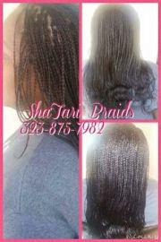 micro braids - straight hair curled