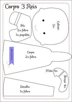 Presépio em Feltro: Molde e Esquema de montagem do Menino