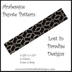 Peyote Pattern Retro Swirls Fabric Inspired Beaded
