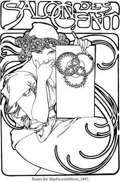 Creative Haven ART NOUVEAU DESIGNS Coloring Book By