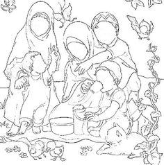Muslim girl and boy colouring stencil. Can be used to