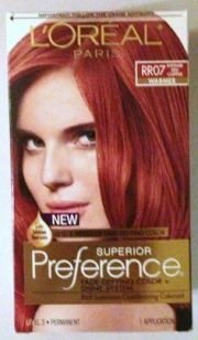red hair color chart loreal