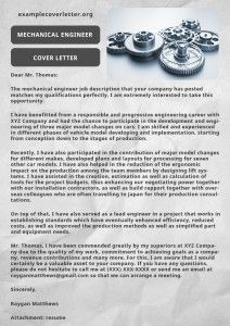 Mechanical Engineer Cover Letter Example  Cover letter example Examples and Letter example