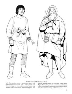 Medieval attire, c. 1100 (from a much later costume